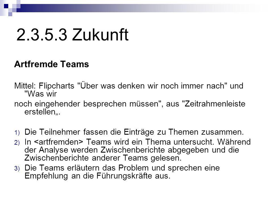 2.3.5.3 Zukunft Artfremde Teams