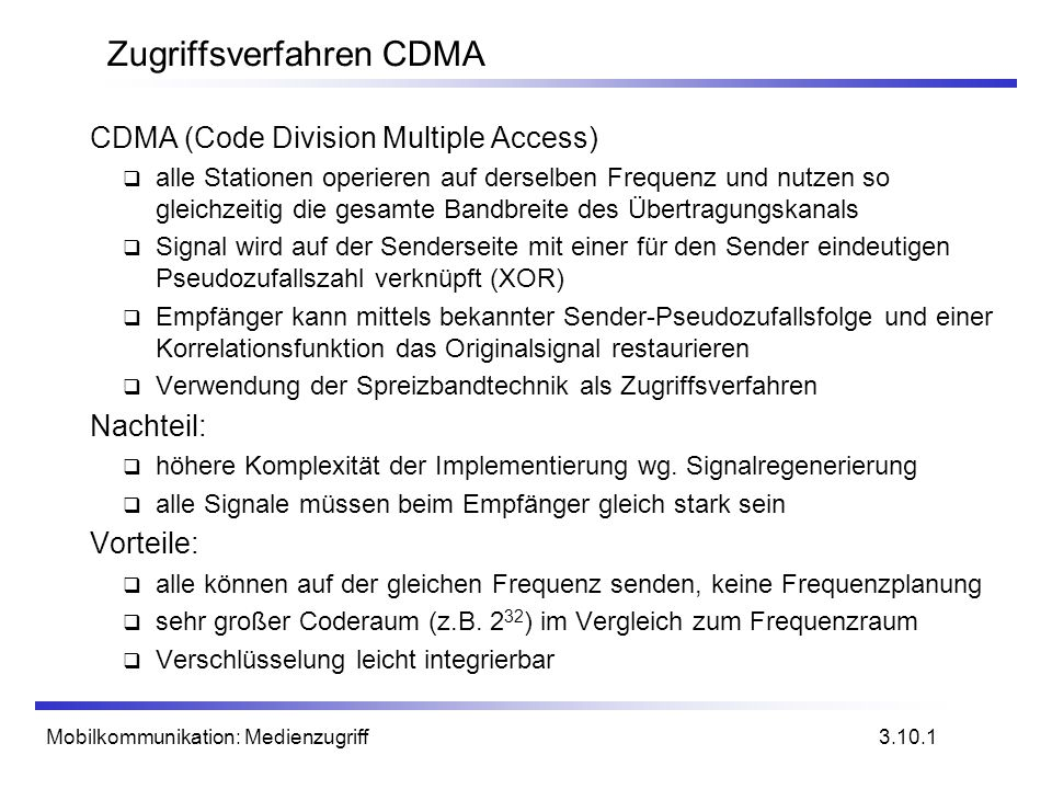 Zugriffsverfahren CDMA