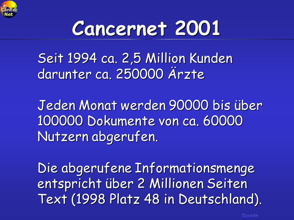 Cancernet 2001 Seit 1994 ca. 2,5 Million Kunden darunter ca. 250000 Ärzte.