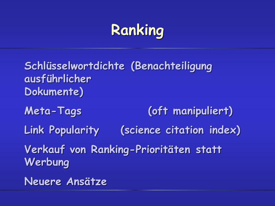 Ranking Schlüsselwortdichte (Benachteiligung ausführlicher Dokumente)