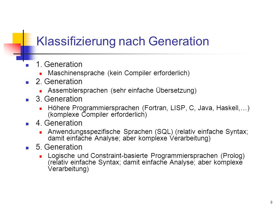 Klassifizierung nach Generation