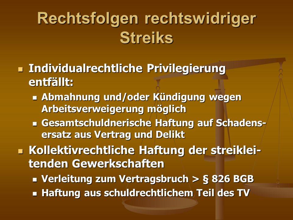 Rechtsfolgen rechtswidriger Streiks