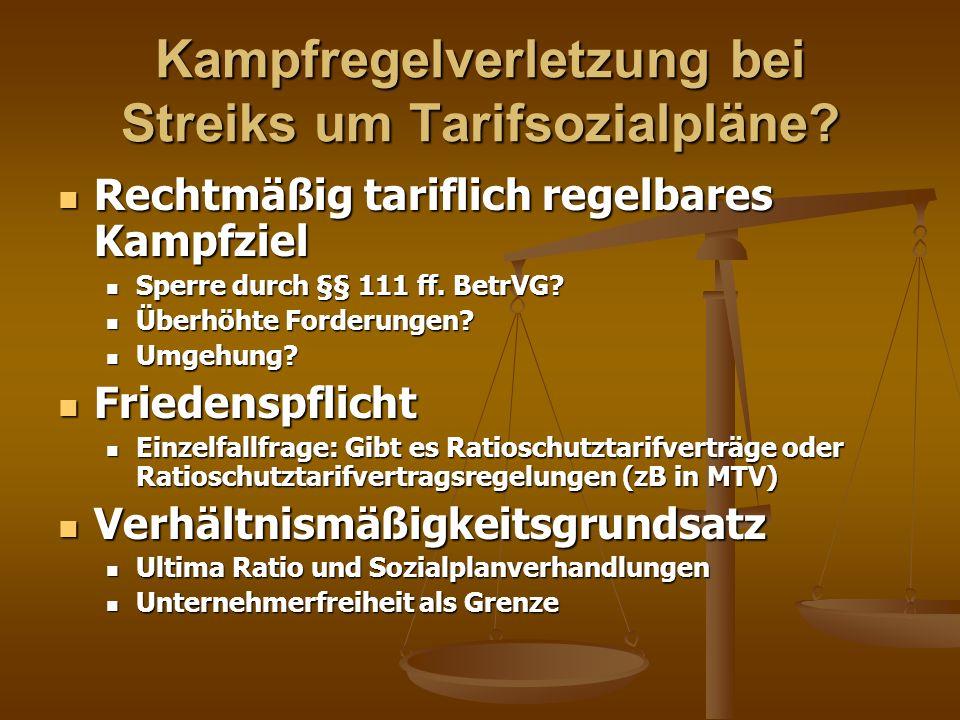 Kampfregelverletzung bei Streiks um Tarifsozialpläne
