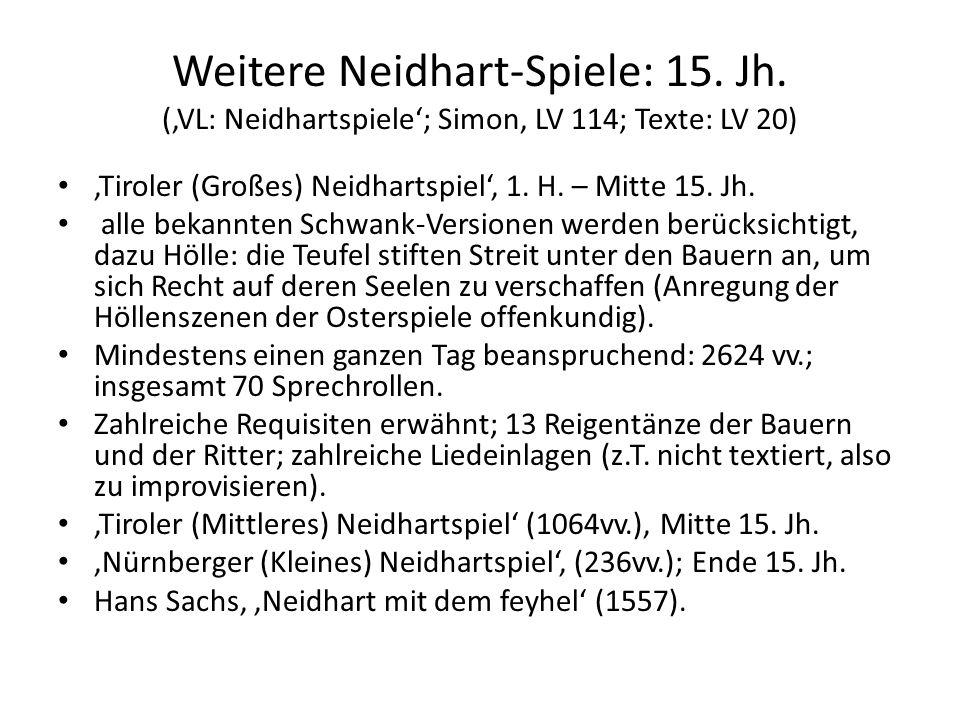 Weitere Neidhart-Spiele: 15. Jh