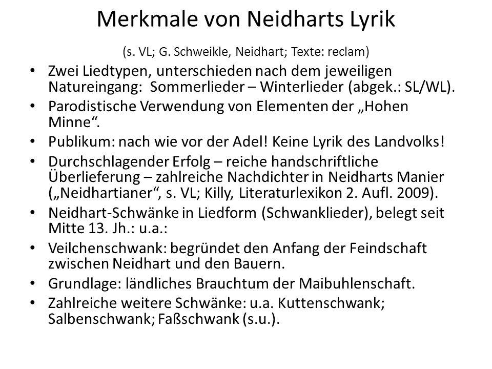 Merkmale von Neidharts Lyrik (s. VL; G