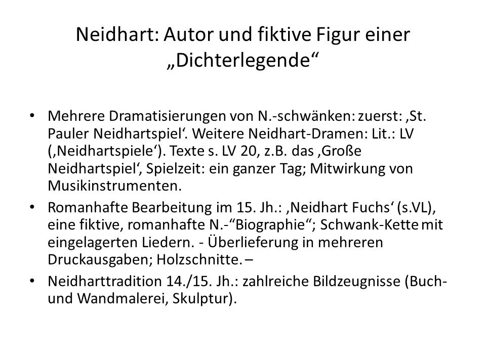"""Neidhart: Autor und fiktive Figur einer """"Dichterlegende"""