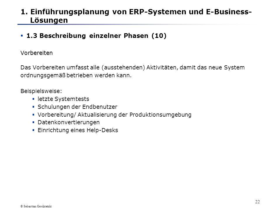 1. Einführungsplanung von ERP-Systemen und E-Business- Lösungen