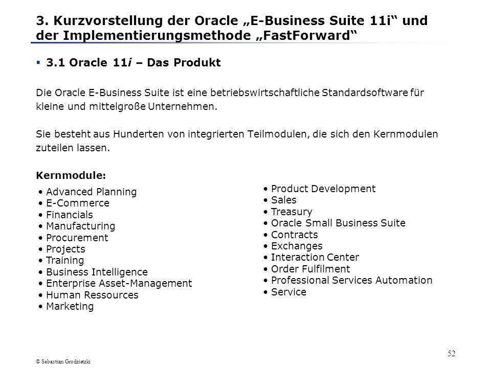 """3. Kurzvorstellung der Oracle """"E-Business Suite 11i und der Implementierungsmethode """"FastForward"""