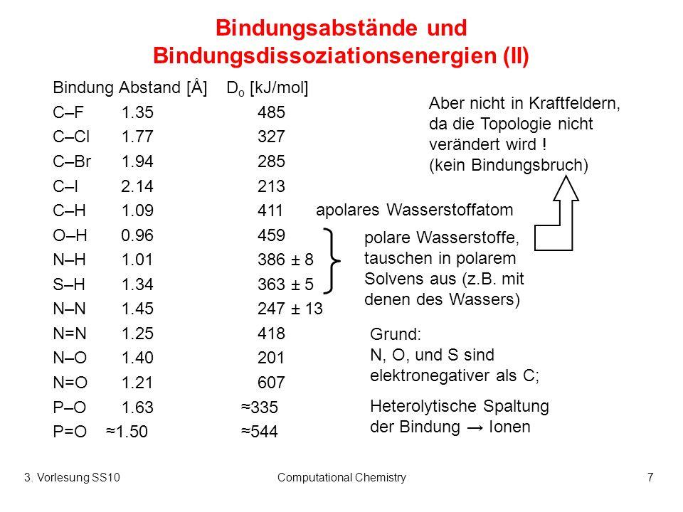 Bindungsabstände und Bindungsdissoziationsenergien (II)