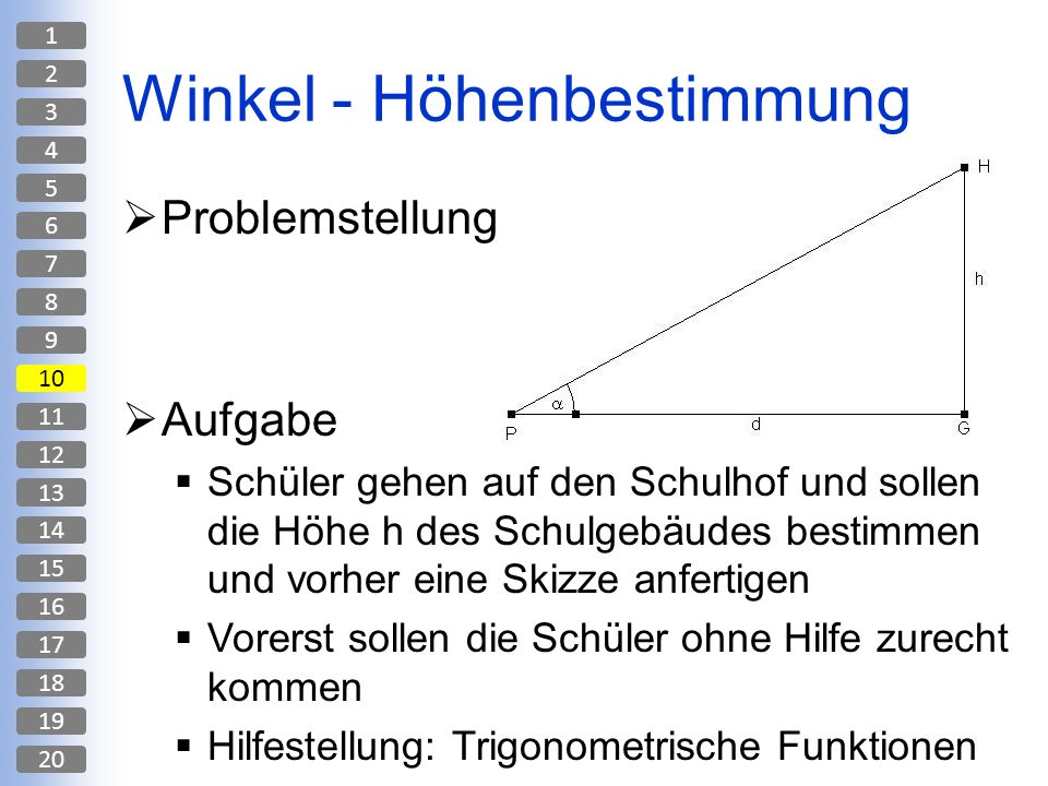 Winkel - Höhenbestimmung