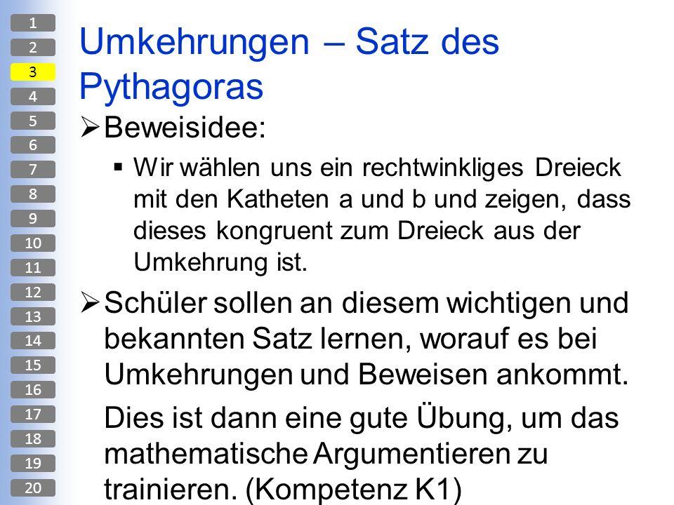 Umkehrungen – Satz des Pythagoras