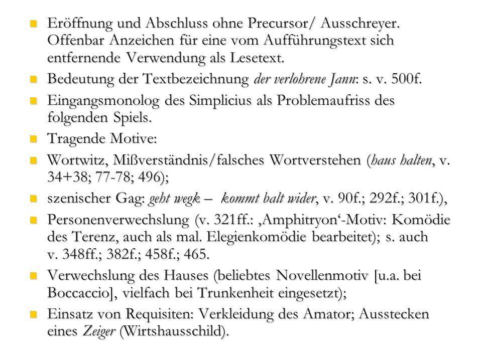 Eröffnung und Abschluss ohne Precursor/ Ausschreyer