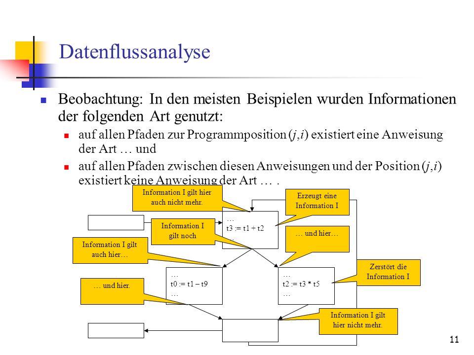 Datenflussanalyse Beobachtung: In den meisten Beispielen wurden Informationen der folgenden Art genutzt: