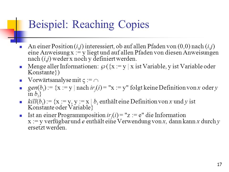 Beispiel: Reaching Copies