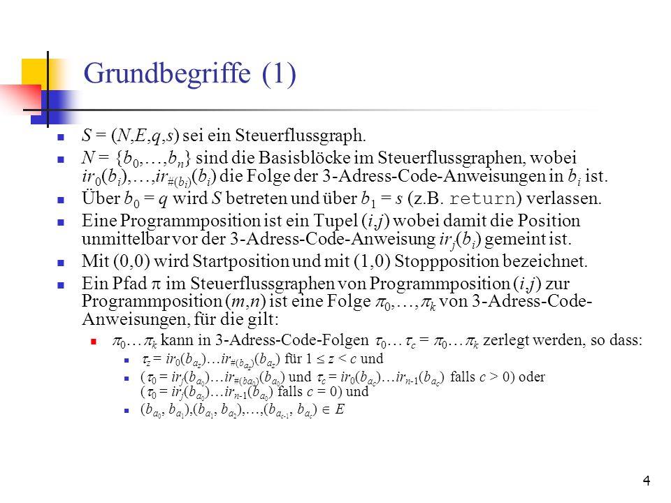 Grundbegriffe (1) S = (N,E,q,s) sei ein Steuerflussgraph.