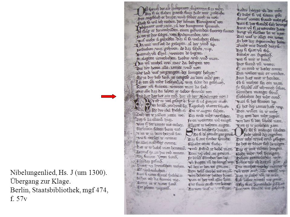 Nibelungenlied, Hs. J (um 1300).