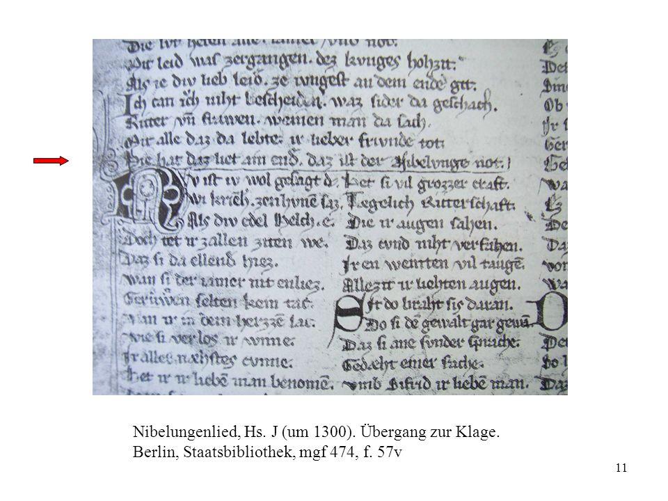 Nibelungenlied, Hs. J (um 1300). Übergang zur Klage.
