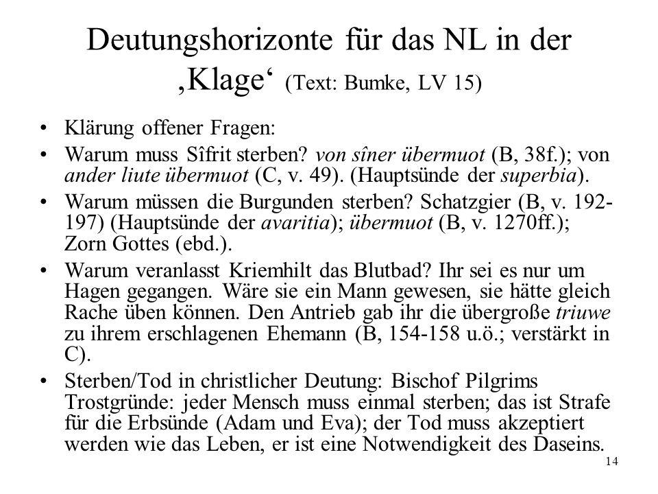 Deutungshorizonte für das NL in der 'Klage' (Text: Bumke, LV 15)
