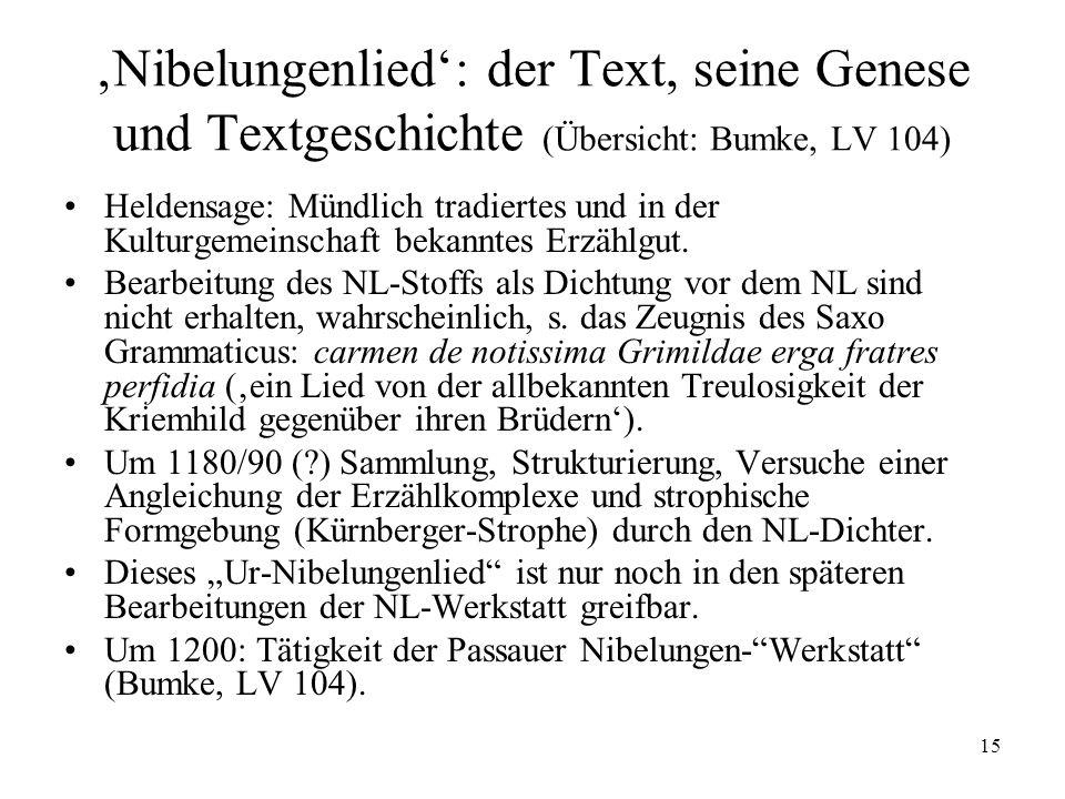 'Nibelungenlied': der Text, seine Genese und Textgeschichte (Übersicht: Bumke, LV 104)