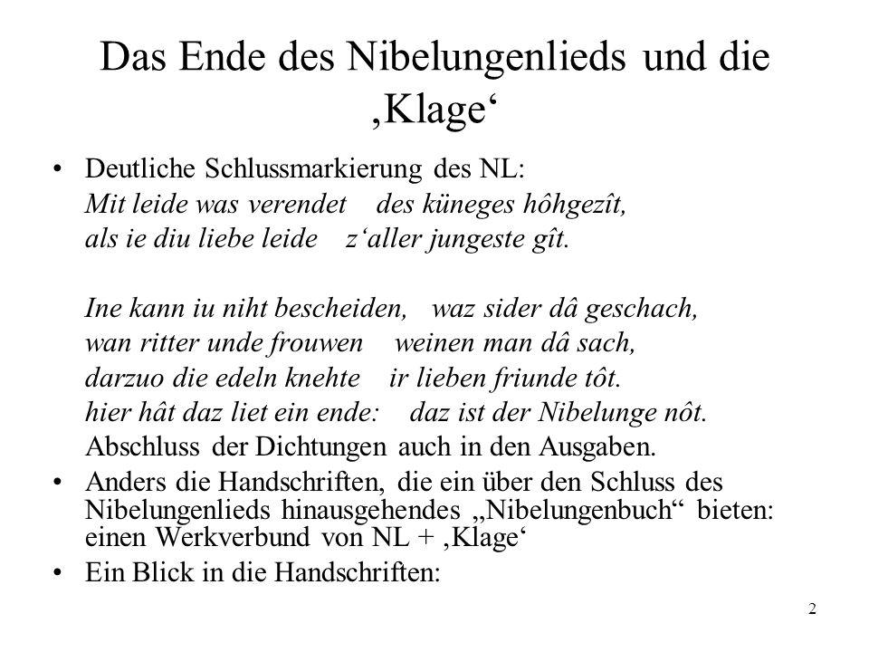 Das Ende des Nibelungenlieds und die 'Klage'