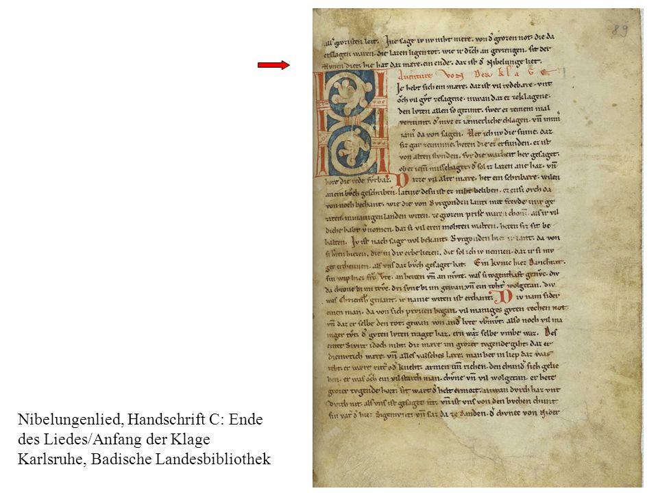 m Nibelungenlied, Handschrift C: Ende des Liedes/Anfang der Klage