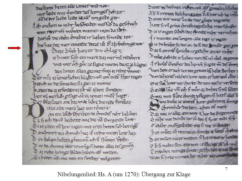 Nibelungenlied: Hs. A (um 1270): Übergang zur Klage