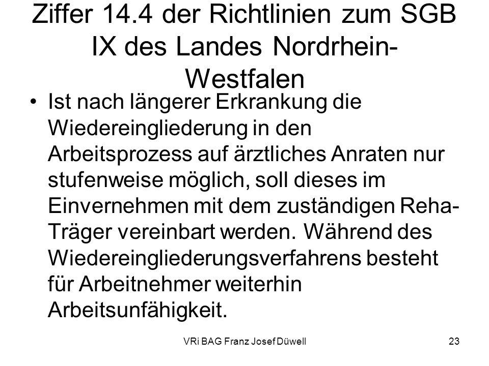 Ziffer 14.4 der Richtlinien zum SGB IX des Landes Nordrhein-Westfalen