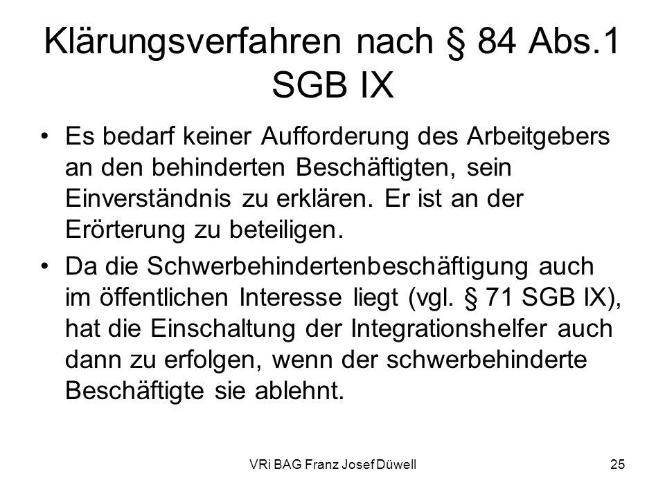 Klärungsverfahren nach § 84 Abs.1 SGB IX