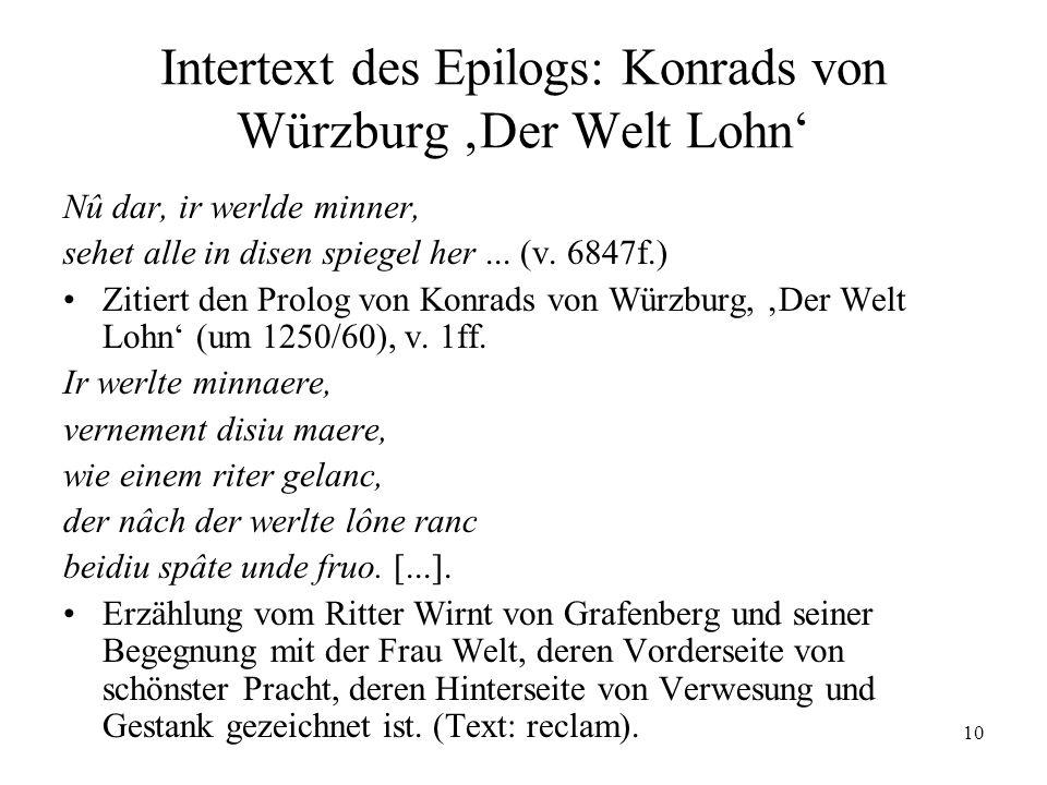 Intertext des Epilogs: Konrads von Würzburg 'Der Welt Lohn'