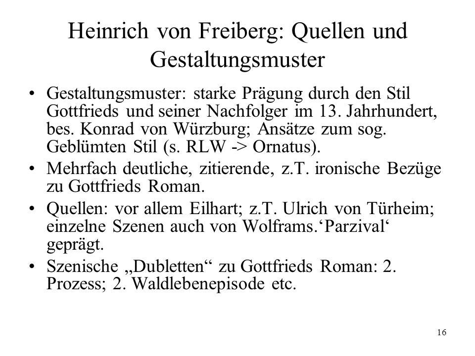 Heinrich von Freiberg: Quellen und Gestaltungsmuster