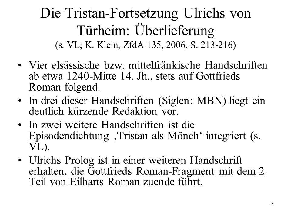 Die Tristan-Fortsetzung Ulrichs von Türheim: Überlieferung (s. VL; K