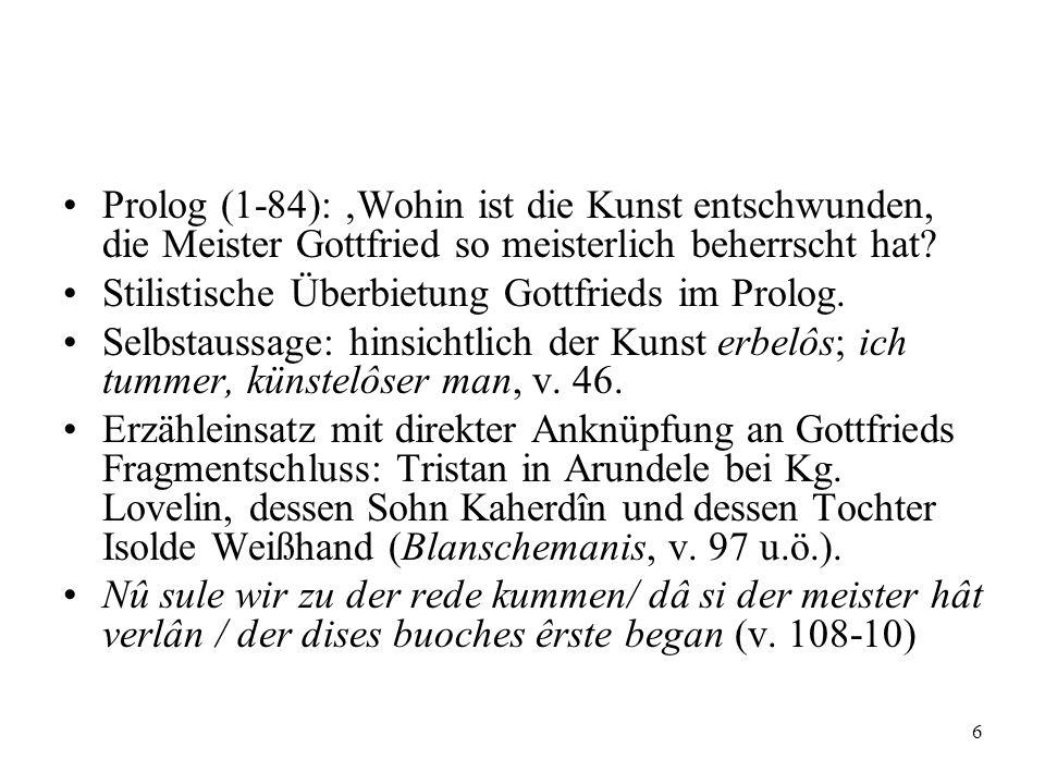 Prolog (1-84): 'Wohin ist die Kunst entschwunden, die Meister Gottfried so meisterlich beherrscht hat