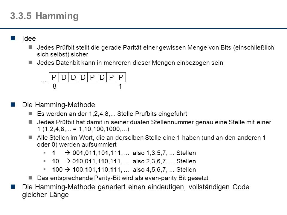 3.3.5 Hamming Idee P D ... 1 8 Die Hamming-Methode
