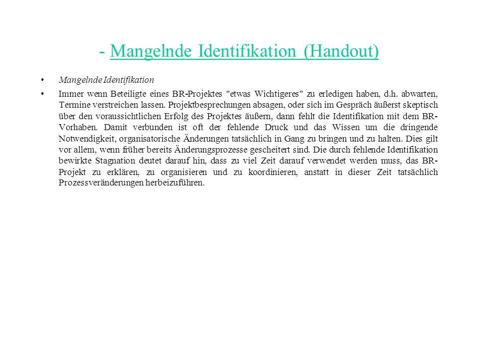 - Mangelnde Identifikation (Handout)