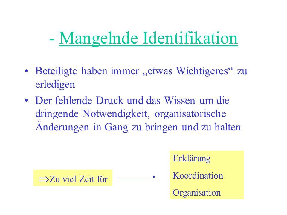 - Mangelnde Identifikation