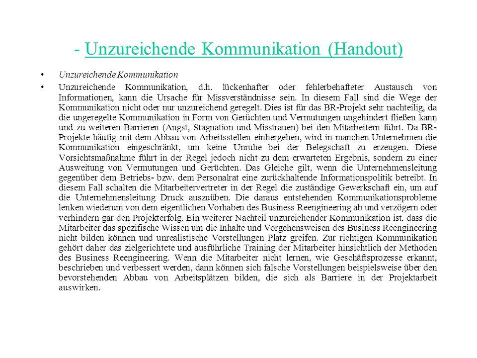 - Unzureichende Kommunikation (Handout)