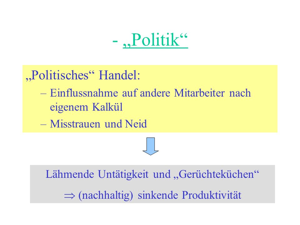 "- ""Politik ""Politisches Handel:"