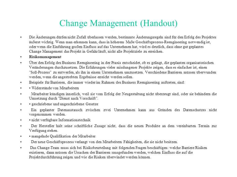 Change Management (Handout)