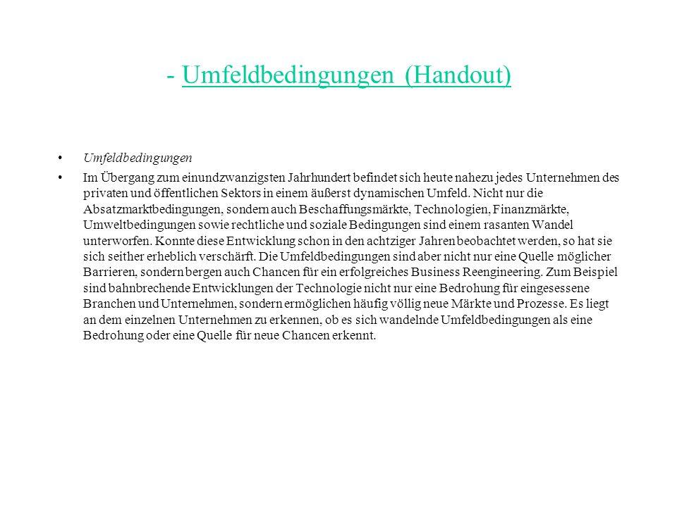 - Umfeldbedingungen (Handout)