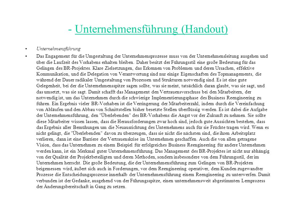 - Unternehmensführung (Handout)