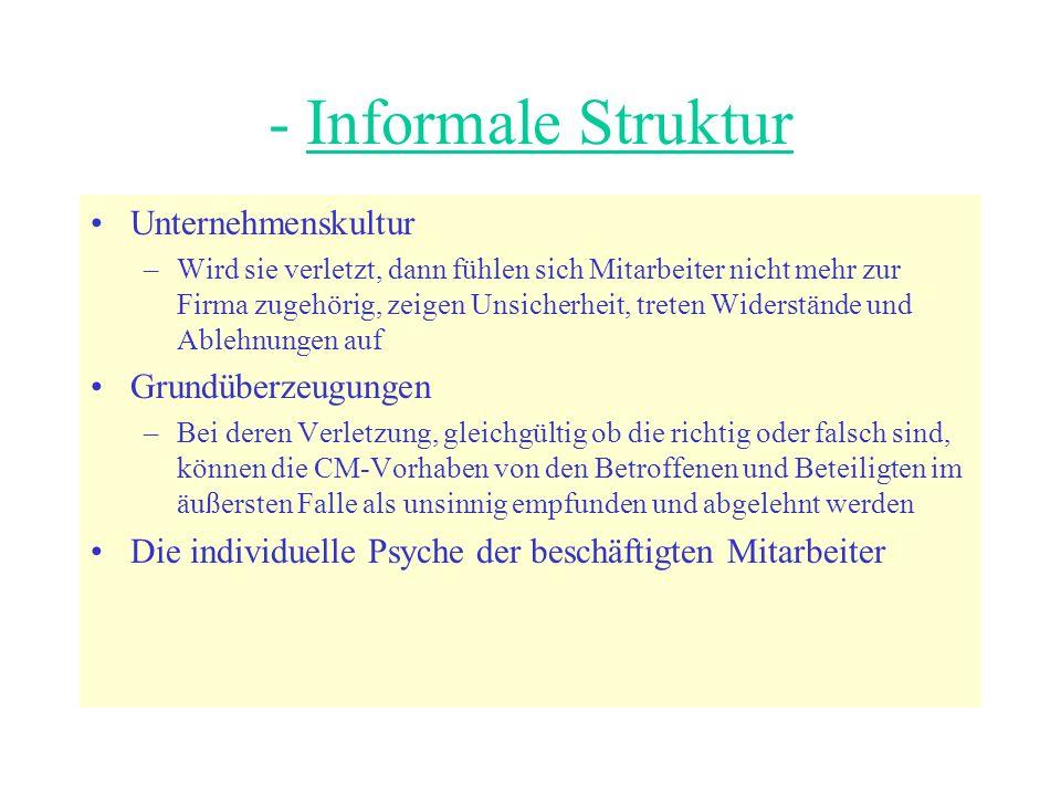 - Informale Struktur Unternehmenskultur Grundüberzeugungen