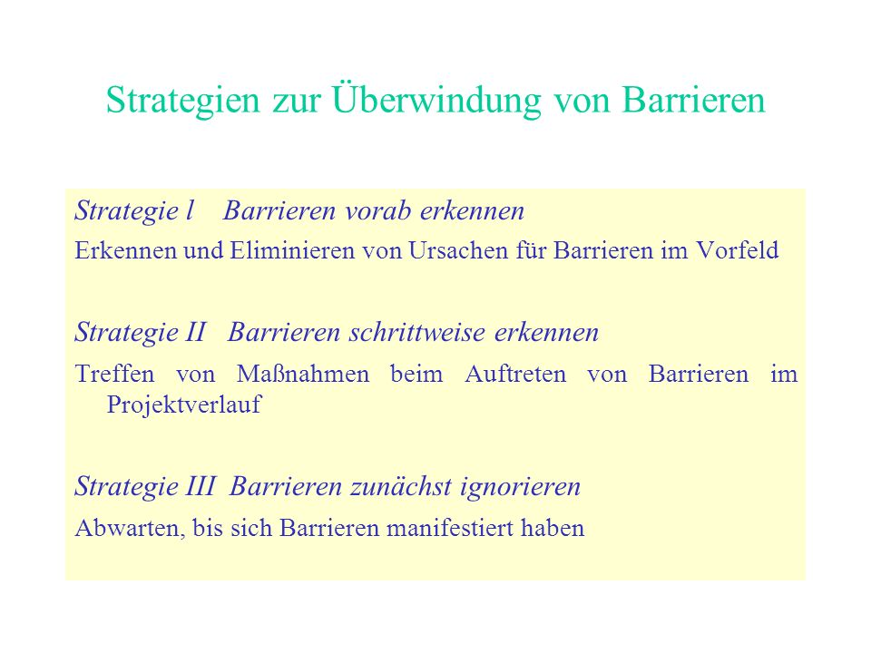 Strategien zur Überwindung von Barrieren