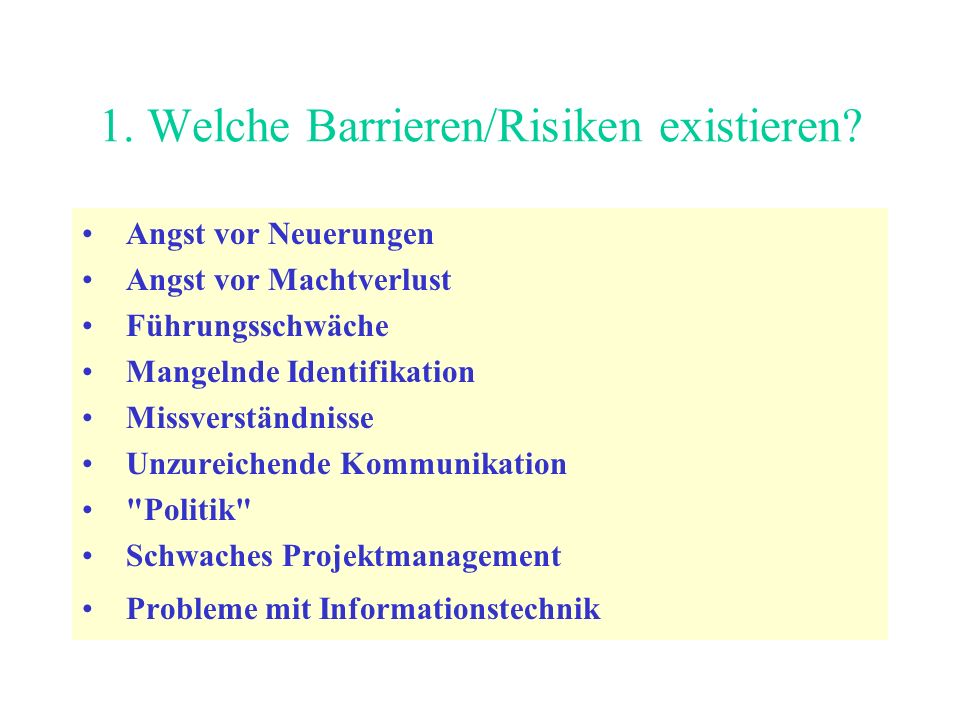 1. Welche Barrieren/Risiken existieren