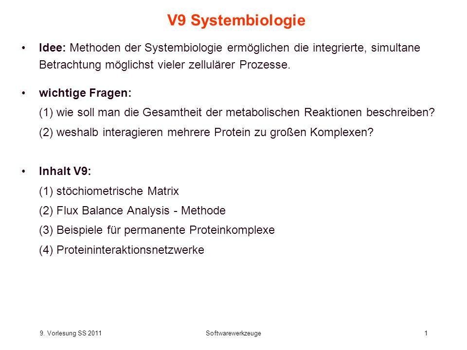 V9 Systembiologie Idee: Methoden der Systembiologie ermöglichen die integrierte, simultane Betrachtung möglichst vieler zellulärer Prozesse.