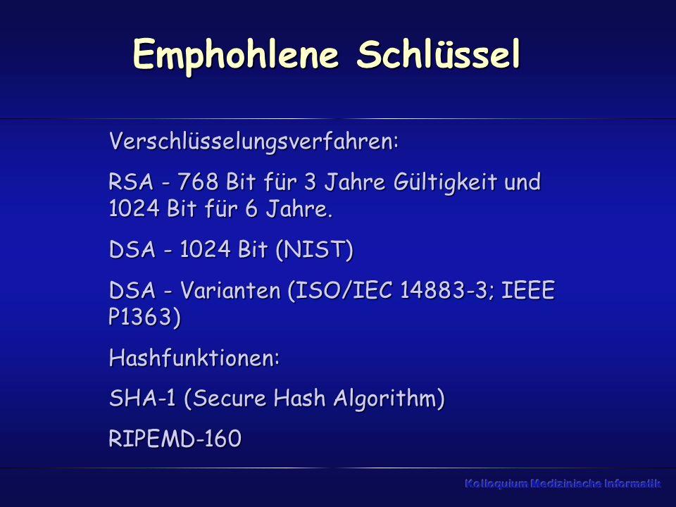 Emphohlene Schlüssel Verschlüsselungsverfahren: