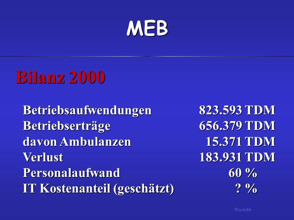 MEB Bilanz 2000 Betriebsaufwendungen 823.593 TDM