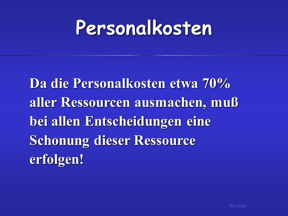 PersonalkostenDa die Personalkosten etwa 70% aller Ressourcen ausmachen, muß bei allen Entscheidungen eine Schonung dieser Ressource erfolgen!