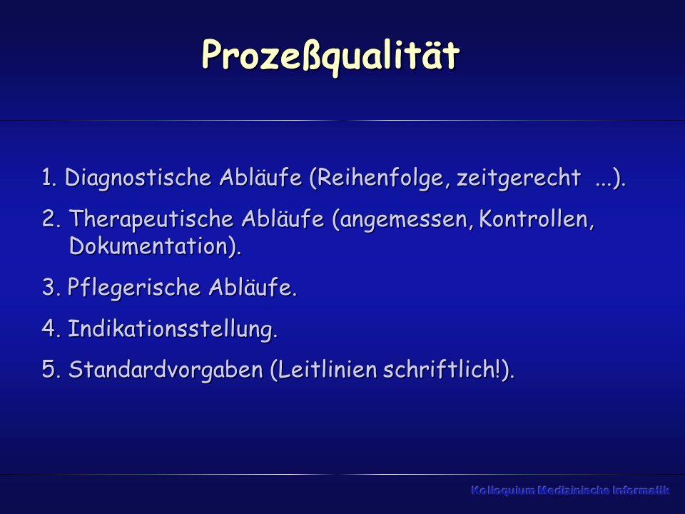 Prozeßqualität1. Diagnostische Abläufe (Reihenfolge, zeitgerecht ...). 2. Therapeutische Abläufe (angemessen, Kontrollen, Dokumentation).
