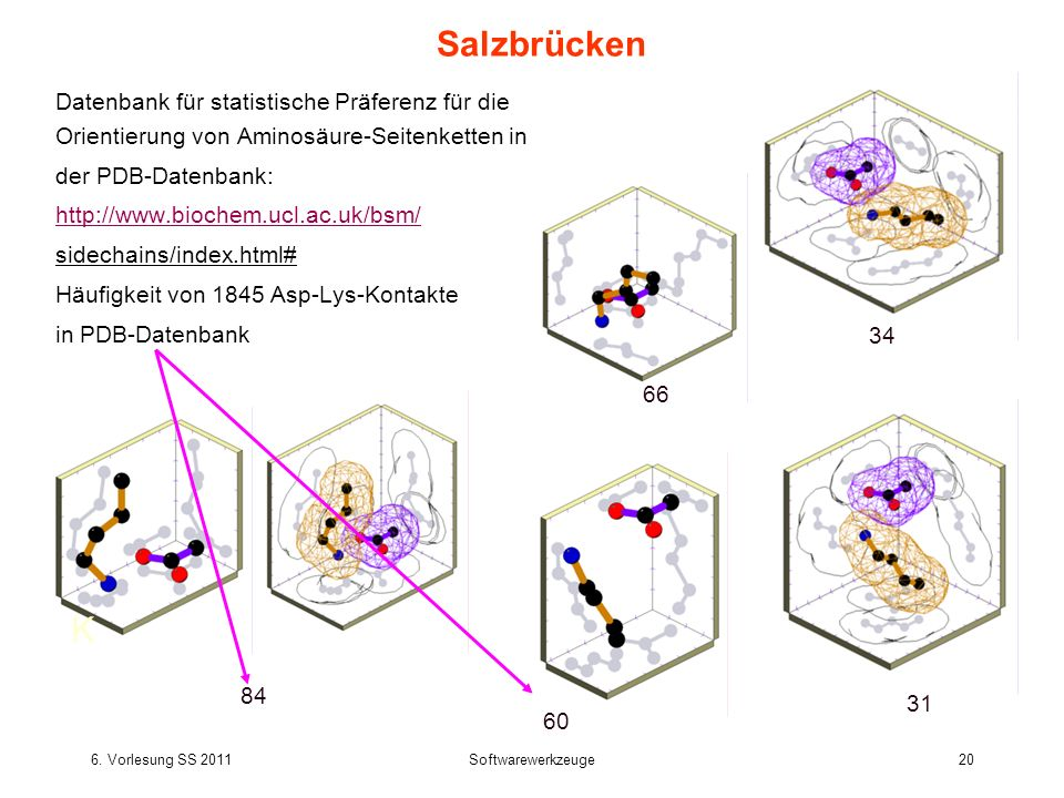 Salzbrücken Datenbank für statistische Präferenz für die Orientierung von Aminosäure-Seitenketten in.