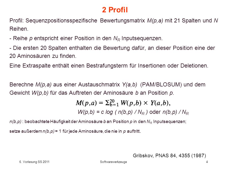 2 ProfilProfil: Sequenzpositionsspezifische Bewertungsmatrix M(p,a) mit 21 Spalten und N Reihen.